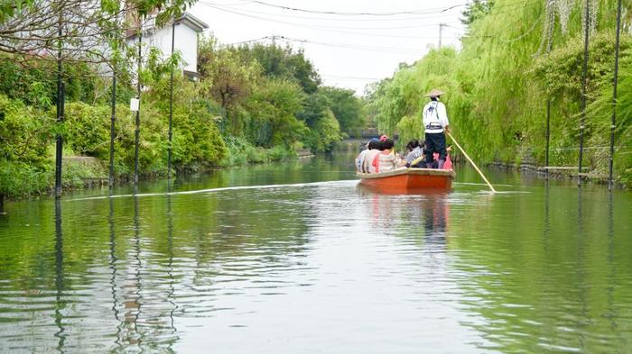 どんこ舟に揺られながら、ゆったりと自然いっぱいの掘割を進んでいきます。「乗合船」「貸切船」の2タイプがあり、乗合船は予約なしで乗れて、30分毎に出発しています。貸切船は予約なしでも乗れますが、クッションシート付きのパント船は要予約。貸切船なら家族や友人だけで川下りを楽しめますよ♪