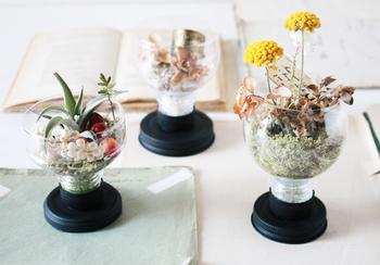 季節のお花を少しだけ、おうちに飾りたい時もありますよね。そんな時は、用途ごとにシンプルなガラスでできた花瓶で、さりげなく飾るのもかわいいです。