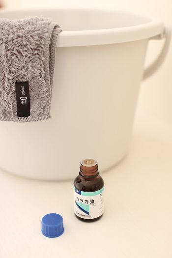 拭き掃除の水には、ちょっぴりハッカ油をたらして。消臭効果・殺菌効果があり、また爽やかな香りがほんのりと残ります。