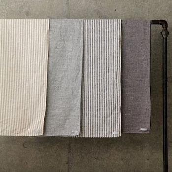 毎日使うタオルは、素材にもこだわってみませんか?こちらはリネン100%のタオル。ナチュラルな色合いも魅力です。