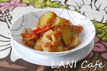 食物繊維豊富な冬に美味しい根菜のラタトゥイユ。隠し味に赤みそを使うことで、コクのある味わいに。和風に仕上げてあるので、ご飯のお供にぴったりです!