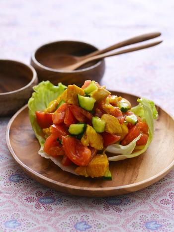 インド風の前菜。 ターメリックにクミンにレッドペッパーに、刺激的なおいしさが味わえる一品。