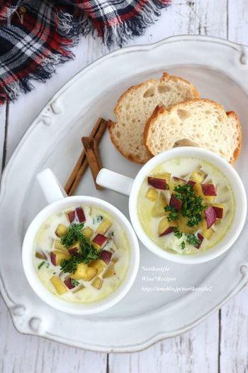 さつまいもたっぷりでボリューム満点な優しい味のスープ。朝ごはんにもおすすめです。