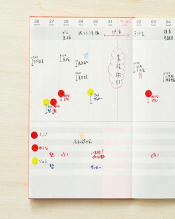 家族全員の予定を書き込むママなら、家族ごとに色分けして記入するのもいいですね。