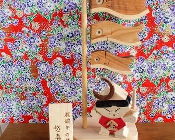 こちらは、木で出来たこいのぼり&金太郎。こいのぼりの表情がキュートで、金太郎も可愛らしいたくましさを感じます。