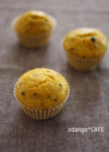 『メープルかぼちゃの上新粉蒸しパン』  ふわふわでしっとり、甘さひかえ目でかぼちゃの素朴な美味しさが味わえます。