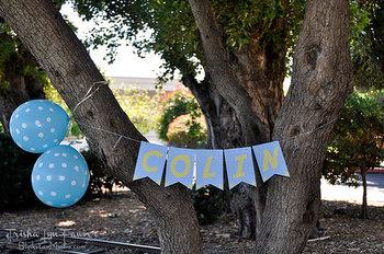 お庭の木もワードバナーでパーティ仕様におめかし♪ガーデンパーティにもいいですね!