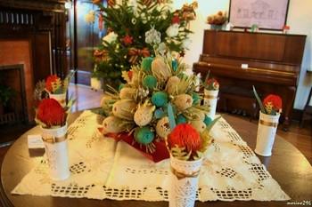 ピンクッションやバンクシアなど、オーストラリアを代表する花でクリスマスを表現しました。