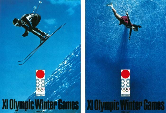 こちらは1972年に開催された札幌冬季オリンピックの公式ポスター。スキーとフィギュアスケート選手の躍動感溢れる姿から、パフォーマンスへの緊張感が伝わってきます。ポスターのデザインは亀倉雄策氏、シンボルマークは永井一正氏によるデザイン。 (左:1972年 札幌オリンピック 公式ポスター第2号 、右:公式ポスター第3号)