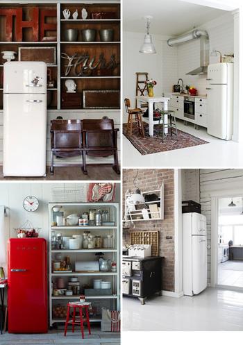レトロ感溢れる冷蔵庫は、一見浮いてしまいそうですが、こんなナチュラルな雰囲気のキッチンにもぴったりはまるのです!