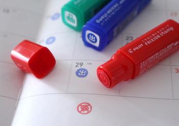 こちらはなんとフリクションのスタンプです。予定が変わっても、フリクションペンと同じように消すことができるので、心置きなく押しておくことができます!