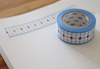 定規になっているマステは、測りたいところにぺたりと貼ってあげると大きさを把握するのが簡単になります。目盛りも正確だそうですよ!