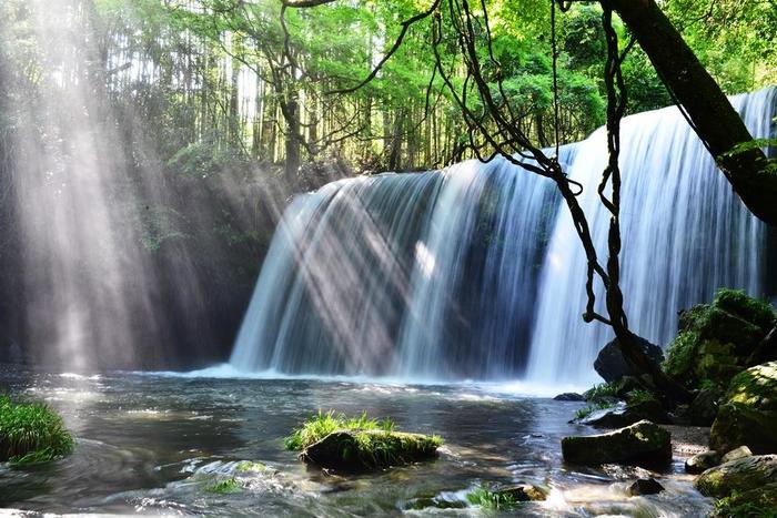 黒川温泉から車で約20分の場所にある「鍋ヶ滝」は、熊本・南小国を代表する観光スポットです。高さ約10m・幅約20mの鍋ヶ滝は、壮大で神秘的。木漏れ日に照らされる鍋ヶ滝は特に綺麗で、自然の造形美は感動的な美しさ!