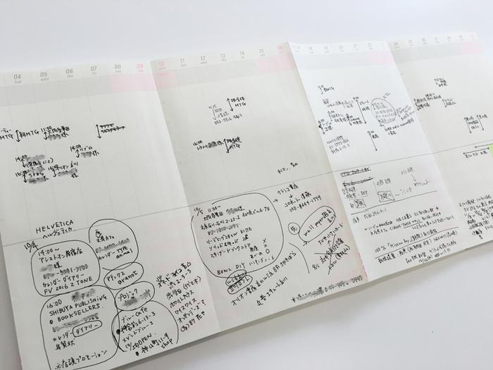 蛇腹になっているロングスケジュール帳は、好きな期間にアイデアやスケジュールを書いていくことができます。実行したい時期に合わせて書けるのが便利です。