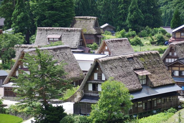 茅葺き屋根の「合掌造り」家屋が建ち並ぶ、「相倉合掌造り集落(あいのくらがっしょうづくりしゅうらく)」。世界文化遺産に登録されています。まるで映画のような風景でありながら、その中で現在も生活が営まれています。