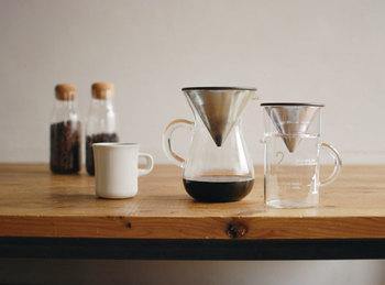 ペーパーを使わないステンレスフィルターなので、豆の個性を最大限に楽しめるコーヒー器具。