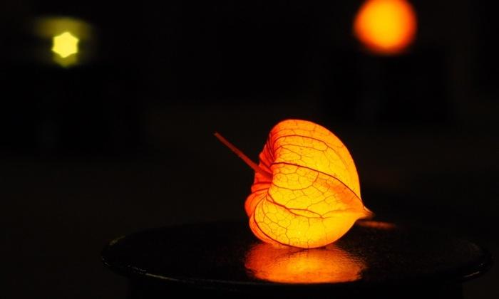 ほおずき型のライト。夏のお盆の風流な雰囲気を感じさせてくれます。