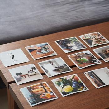 何年何月という月カードと写真が送られてきたら、専用アルバムやお好きなアルバムに貼っていくだけなので、アルバム作りが苦手な方でも簡単に。 ポラロイド風の雰囲気のある写真がおしゃれです。