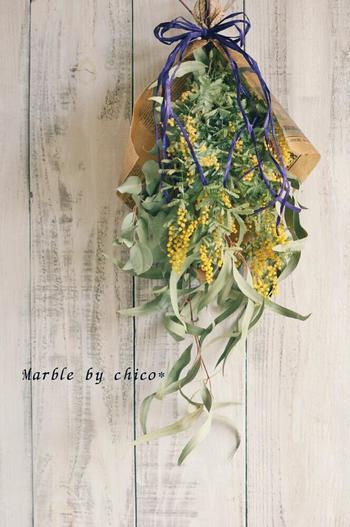 鮮やかなライトイエローがまばゆいミモザは、いち早く春の訪れを告げてくれる花。ドライになってもきれいな黄色を保ってくれるので、こちらもドライアレンジの花材としてよく使われます。