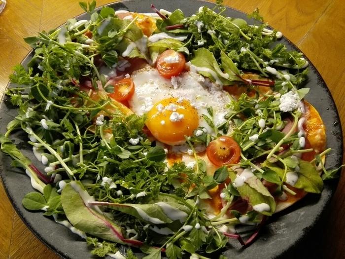 野菜がたっぷりのった小さめのピザ「ピゼッタ」は、たくさんのベビーリーフで生地が覆われています。見た目もヘルシーで、思わず笑顔が溢れますね。
