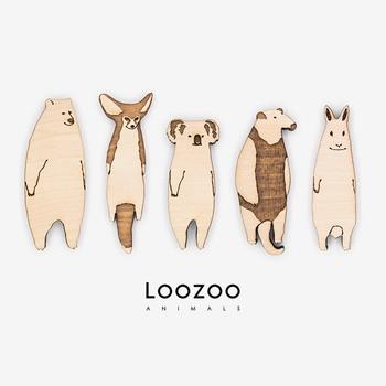 トチの木の自然な風合いを生かしたアニマルブローチ。フェネックやコアラ、ミナミコアリクイなど、珍しいモチーフが多数あります。全9種類ありますので、お好みの動物を探してみてくださいね。