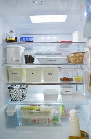 中の見えない保存容器を使うときは、外側にラベリングしておきましょう。これで家族が保存容器をおかしなところに動かしてしまっても、中のモノが把握できるようになります。