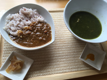 スープのメニューはチェックシートになっており、「 熱 / 実 / 燥 / 寒 / 虚 / 湿 」の6つの中から、自分の体質に合わせて選ぶことができます。メインのカレーはもちろんですがスープも絶品です。
