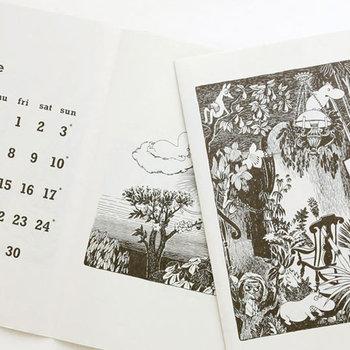 人気のタブロイド判ムーミンカレンダー。小説ムーミンの中から選ばれた挿絵を、書籍に使われるざっくりとした中質紙に印刷。お部屋の素敵なインテリアにもなります。
