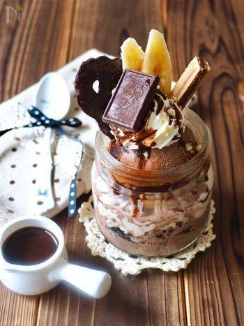 甘いもの好きな彼におすすめのチョコレートパフェ。手作りパフェは積んでいく順番がポイントです。こちらのレシピを参考に彼の好みの材料で作ってみてくださいね。