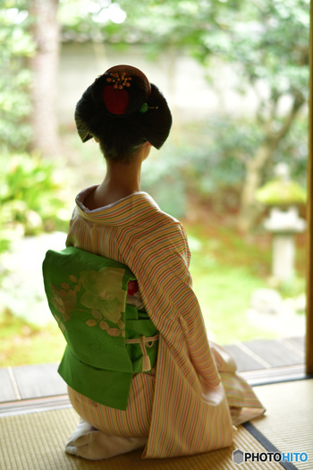 こちらは名古屋帯で、お太鼓が一重です。二重になっていませんが、違いわかりますか? 着物は、全体に柄が入った「小紋」という普段着です。