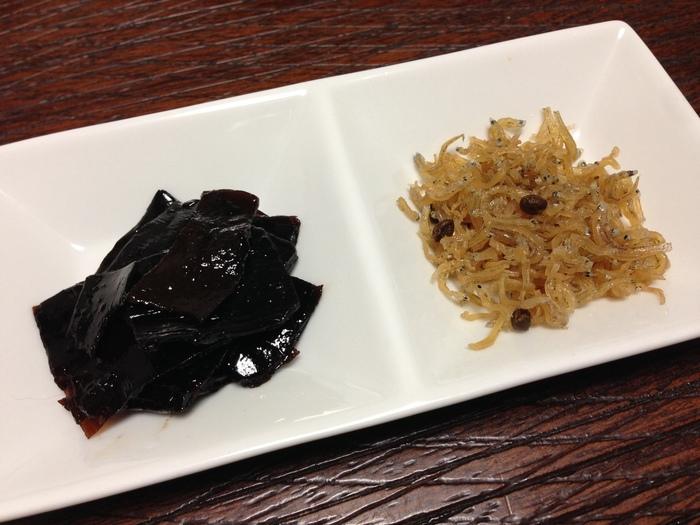 【「野村佃煮 錦店」の昆布と松茸の『京佃煮』とちりめん山椒の『都ちりめん』】