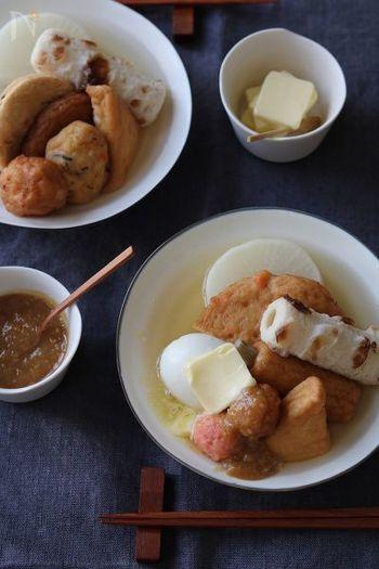 こちらはいつも使っている味噌でも作れる、お手軽味噌バターおでんのレシピ。味噌とバターのコクが後を引きます。〆はラーメンを入れても◎!