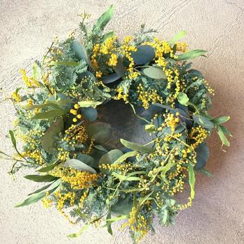 リースといえばクリスマスのイメージがありますが、花材を変えればどんな季節でも楽しむことができます。クリスマス時期によく見かけるリースの土台のみを購入しておけば、あとはアレンジは自由。こちらはユーカリとミモザで作った、やわらかな色合いの春のリース。