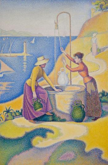 Paul Signac/ポール・シニャック『Femmes au puits/井戸端の女たち』(19892年)。  シニャックは新印象派を代表する画家の1人。点描が和らげる補色、井戸と女性、海と丘、うねる道の構図によって忘れがたい1枚となっています。