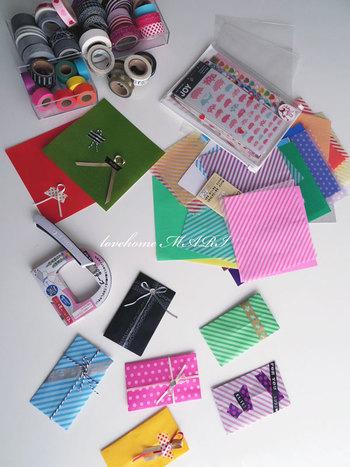 ポチ袋はサイズも小さいので、折り紙や色々な素材のペーパーでも簡単に作ることができるんですよ。