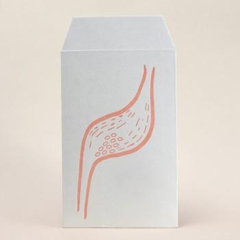 旅先への薬の仕分けにもポチ袋が大活躍。このポチ袋にはユニークな胃のイラストが(笑)。これならお薬を間違わずポーチに忍ばせておけますね。
