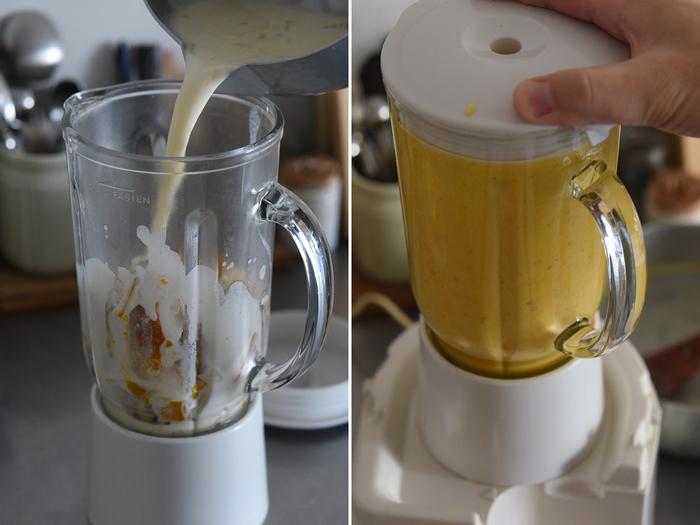 残りの牛乳を冷たいまま足して、ミキサーやジューサーなどに。ポタージュ状になれば完成。あとは当日お鍋で温めればOKです。飲む前に味見をしながら塩や砂糖で調味しましょう。