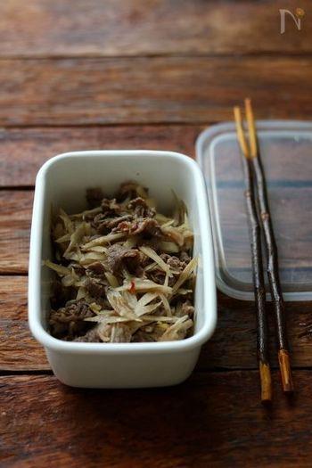 間違いなく美味しい、牛肉とゴボウの簡単料理。めんつゆで15分でできちゃいます。  食物繊維たっぷりのゴボウと、スタミナのつくお肉で毎日元気に過ごせそうですね。
