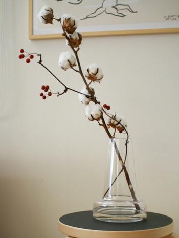 綿の実を枝ごと花瓶に生けるシンプルな飾り方。ドライフラワーなので生花を飾るのを避けたい場所にも気軽に飾ることができます。自然の枝ぶりをいかしながら素敵に飾ってみて。