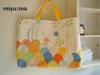子供のための幼稚園バッグだってこんなに可愛い。好きな布を組み合わせて作れば、個性のあるバッグになりますよ。