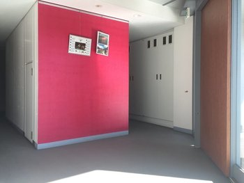 明るいピンクの壁。お部屋の一部の壁に色を取り入れるのも素敵です。
