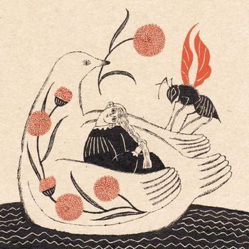朱と黒の墨を使って描かれる、どこか懐かしさや哀愁を感じさせる一枚。