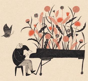 """""""春のピアニスト Pianist of Spring"""" 杉本さんにとって楽器は、どれだけ描いても飽きないものの一つなんだそうです。ピアノから咲き乱れる花が、今にも楽しい音楽が流れてくるように感じられます。"""