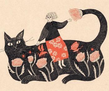"""""""ねこのきまぐれ Whimsy of a Cat"""" 猫の背に乗って風に揺られる少女を描いた一枚。繊細に揺れるお花畑をまとった猫と、優しい表情を浮かべる少女――柔らかに吹く風の音を感じて。"""