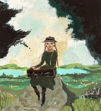 """""""Anne"""" こちらを見つめるAnneと名付けられた少女。アクリル絵の具を使ってカラフルに描かれた情景は、どこかノスタルジックな気持ちにさせてくれます。"""