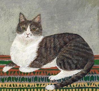 """""""Cat Kanetsugu"""" こちらもたくさんの色を使ってアクリル絵の具で描かれた、一点を見つめる猫のイラスト。猫の毛並みの一本一本がしっかりと描かれていて、今にも動き出しそうなリアルさを感じます。"""