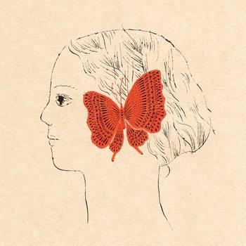 """""""耳をとじて Close Your Ears"""" 黒で描かれた少女の耳に、赤い蝶がぴったりと寄り添うイラスト。耳元で囁く蝶に少女は何を思うのでしょうか。"""