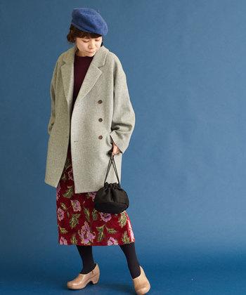 冬の大定番とも言えるベレー帽。すがすがしい空色にすれば、コーディネートのアクセントとしてもバッチリです。