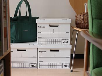 こちらは、シュレッダーでも有名な「Fellowes(フェローズ)」社のバンカーズボックスです。定番のA4サイズは収納にとっても便利。