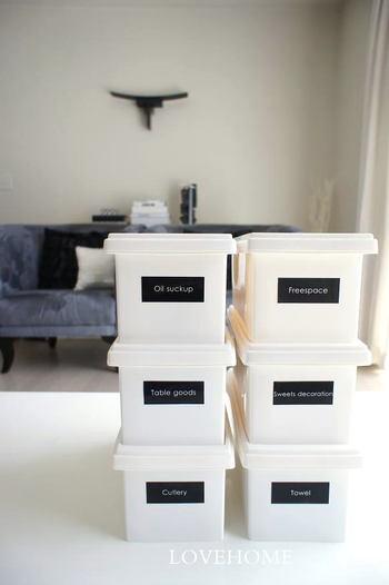 ダイソーの白いふた付きボックス。黒のラベルを貼ればクールな印象に。